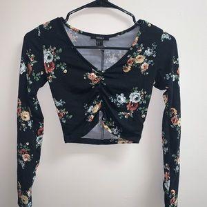 Black floral long sleeve crop top